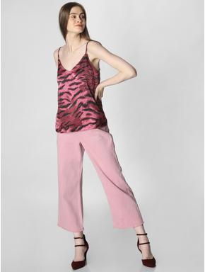 Pink Animal Print Satin Cami Top
