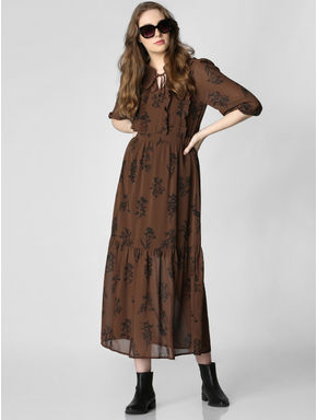 Dark Brown All Over Print Midi Dress