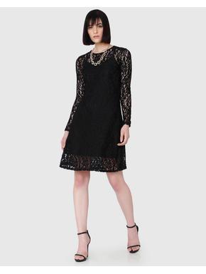 Black Lace Fit & Flare Dress