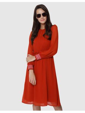 Red Smock Cuff Midi Dress
