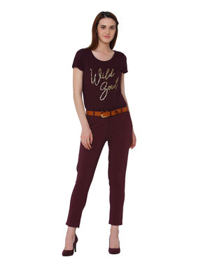 Burgundy Wild Girl Print T-Shirt