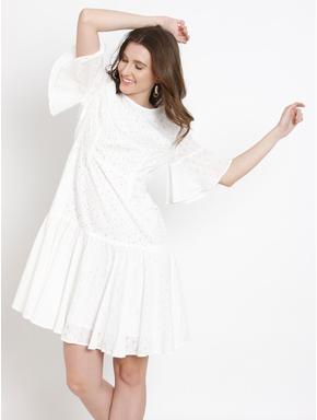 White Cut Work Fit & Flare Dress