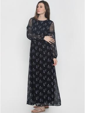Navy Blue All Over Print Maxi Dress