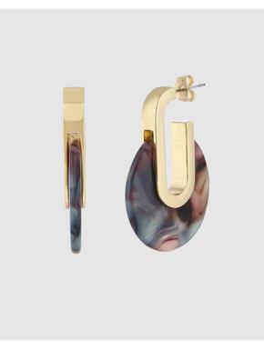 Gold Colour Stone Detail Earrings