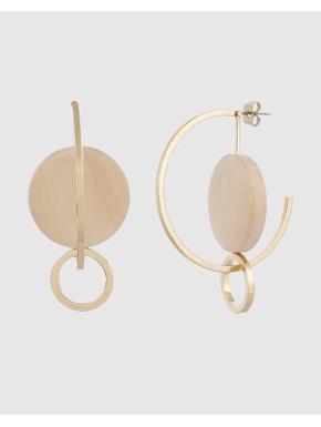 Gold Colour Disc Hoop Earrings