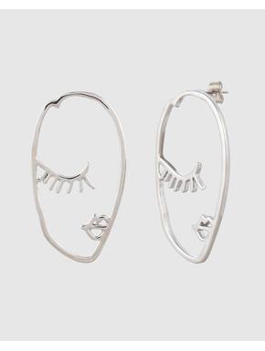 Silver Face Drop Earrings