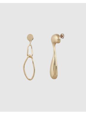 Gold Colour Mismatch Drop Earrings