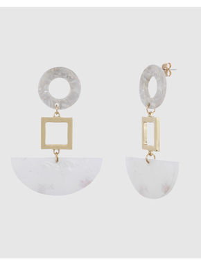 Gold Colour Stone Detail Earrings