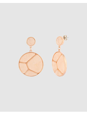 Rose Gold Colour Disc Drop Earrings