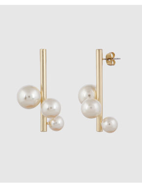 Gold Colour Pearl Detail Earrings