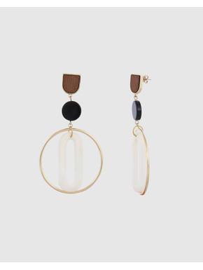 Gold Colour Stud Detail Drop Earrings