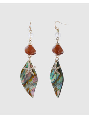 Gold Colour Leaf and Star Fish Motif Drop Earrings