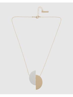 Gold Colour Flat Disc Pendant Necklace