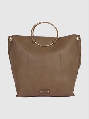 Brown Ring Handle Tote Bag