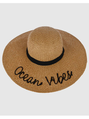 Beige Text Print Straw Beach Hat