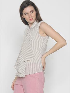 Beige Striped Drape Shirt
