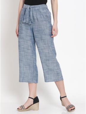 Blue Tie Up Belt Pants
