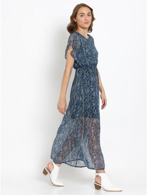 Blue All Over Print Maxi Dress
