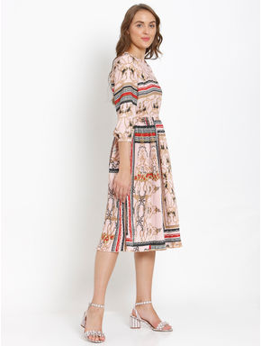 Light Pink Printed Fit & Flare Dress