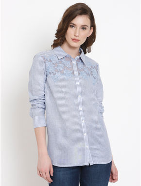 Blue Striped Embroidered Shirt