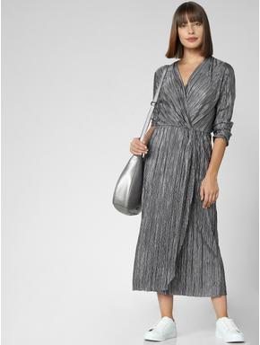 Silver Pleated Midi Dress