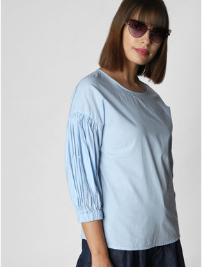 Blue Back Bow Detail Top
