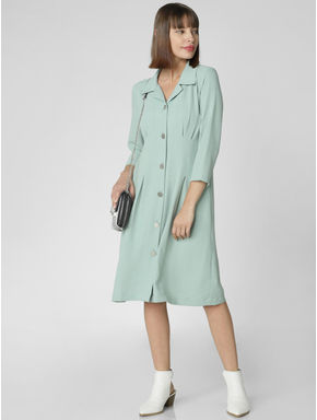 Green Button Down Midi Dress