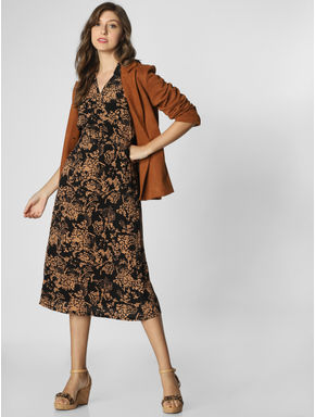 Black All Over Print Midi Dress