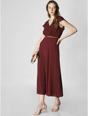 Dark Brown Ruffle Midi Dress