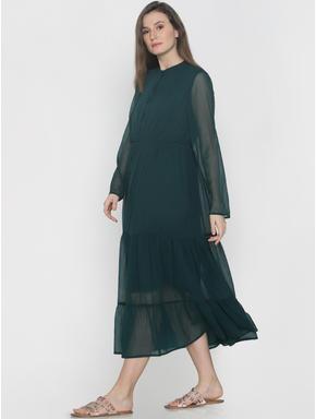 Dark Green Tiered Midi Dress