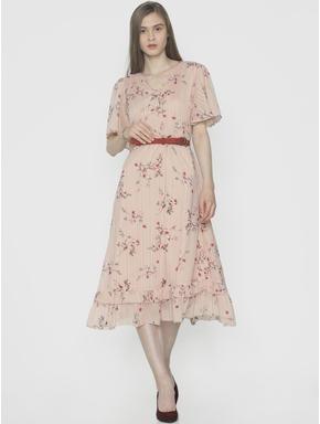 Light Pink Floral Print Midi Dress