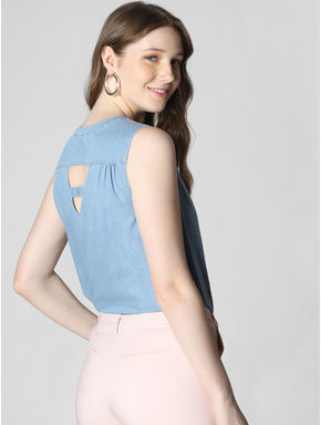 Blue Cut Out Detail Denim Top