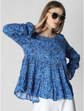 Blue Floral Print Flared Top