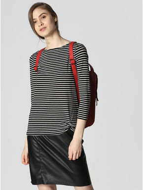 Black Striped Front Knot T-shirt