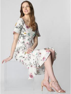 White Floral Button Down Dress
