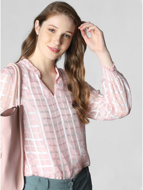 Light Pink Check Sheer Top