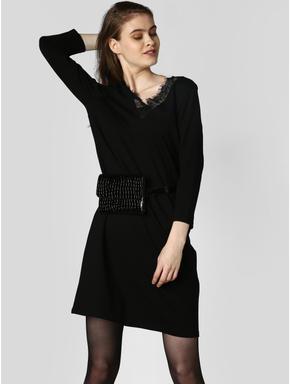 Black Lace Detail Shift Dress