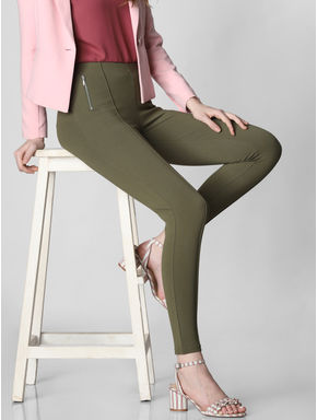 Green Mid Rise Zip Detail Skinny Leggings