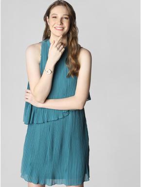 Blue Pleated Layered Shift Dress