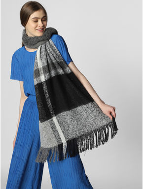 Black Colourblocked Scarf