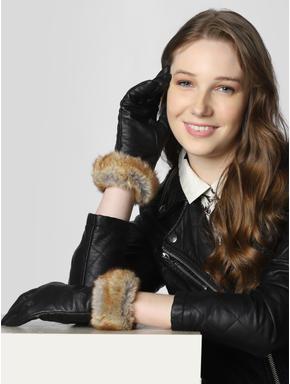 Black Leather Fur Detail Gloves
