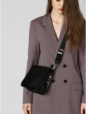 Black Croc Embossed Crossbody Bag