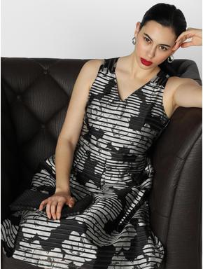 Black Floral Print Fit & Flare Dress