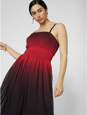 Red Pleated Maxi Dress