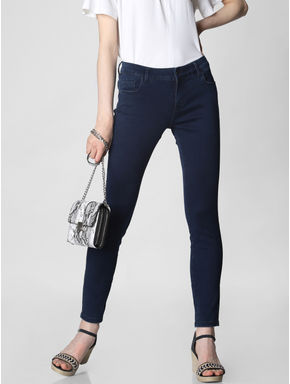 Dark Blue Mid Rise Skinny Fit Jeggings
