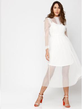 White Lace Sheer Midi Dress