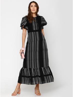 Black Striped Flutter Sleeves Maxi Dress