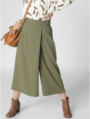 Olive Green Mid Rise Belted Culottes