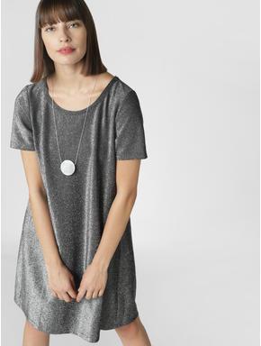 Silver Shimmer Shift Dress