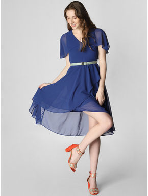 Blue Ruffle Fit & Flare Dress